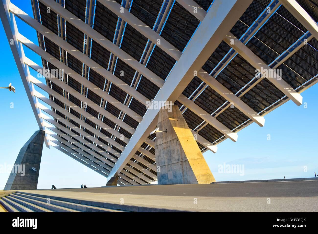 Photovoltaic pergola giant solar panel park forum diagonal mar stock photo royalty free - Solar barcelona ...