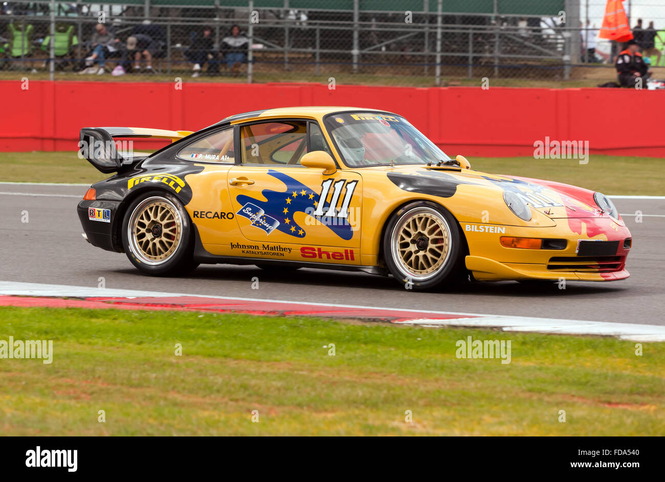 a porsche 993 gt2 racing car during a demonstration. Black Bedroom Furniture Sets. Home Design Ideas