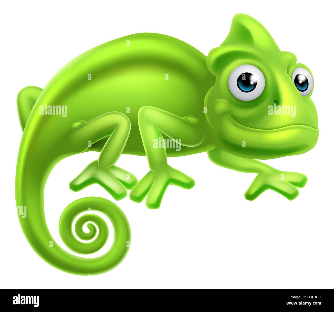 A cartoon cute chameleon lizard character Stock Photo ...