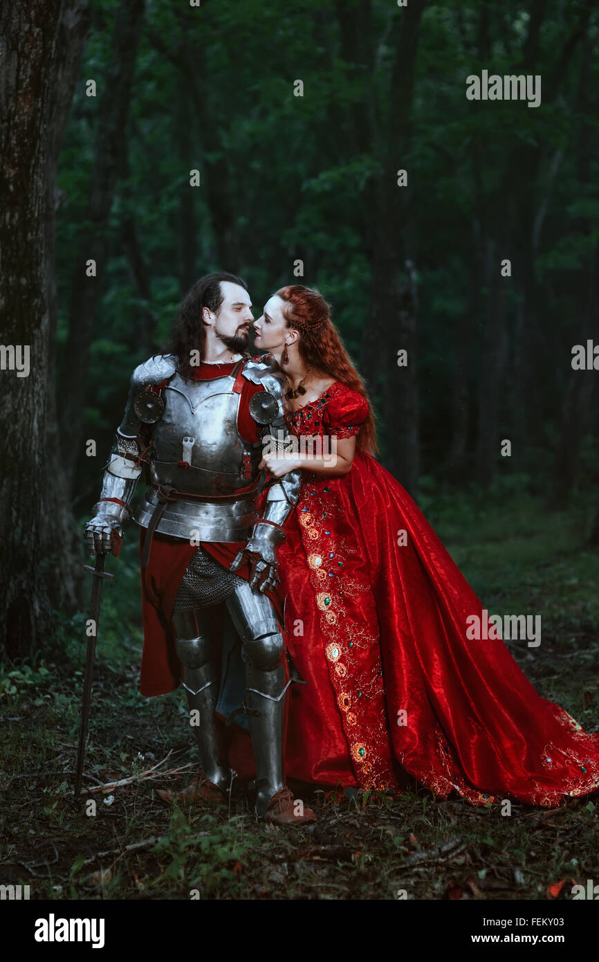 Medieval knight with lady Stock Foto