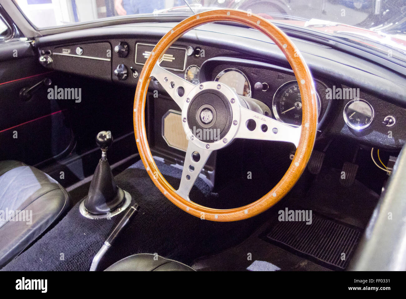 interior of a mgb roadster classic british sports car uk stock photo royalty free image. Black Bedroom Furniture Sets. Home Design Ideas