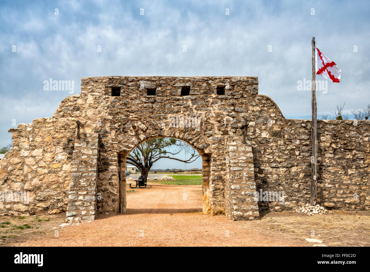 Main Entrance Gate And Flag Of New Spain Presidio De San