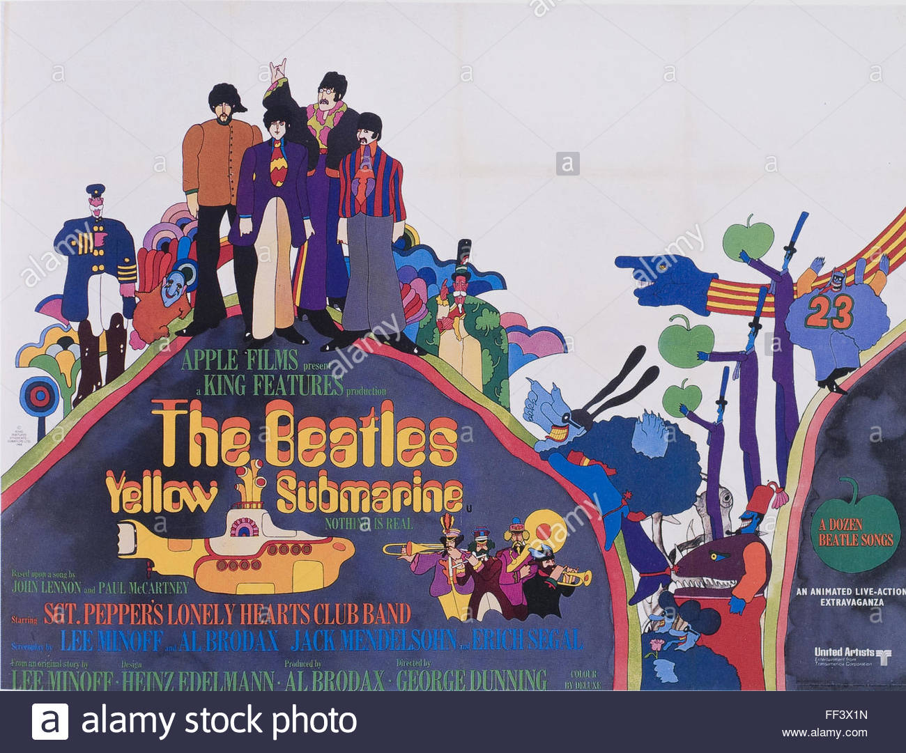 the beatles yellow submarine movie poster stock photo