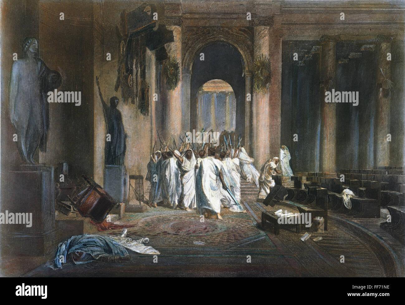 JULIUS CAESAR (100 B.C-44 B.C.). /nRoman general and statesman. The assassination of Julius Caesar in the Roman Stock Photo