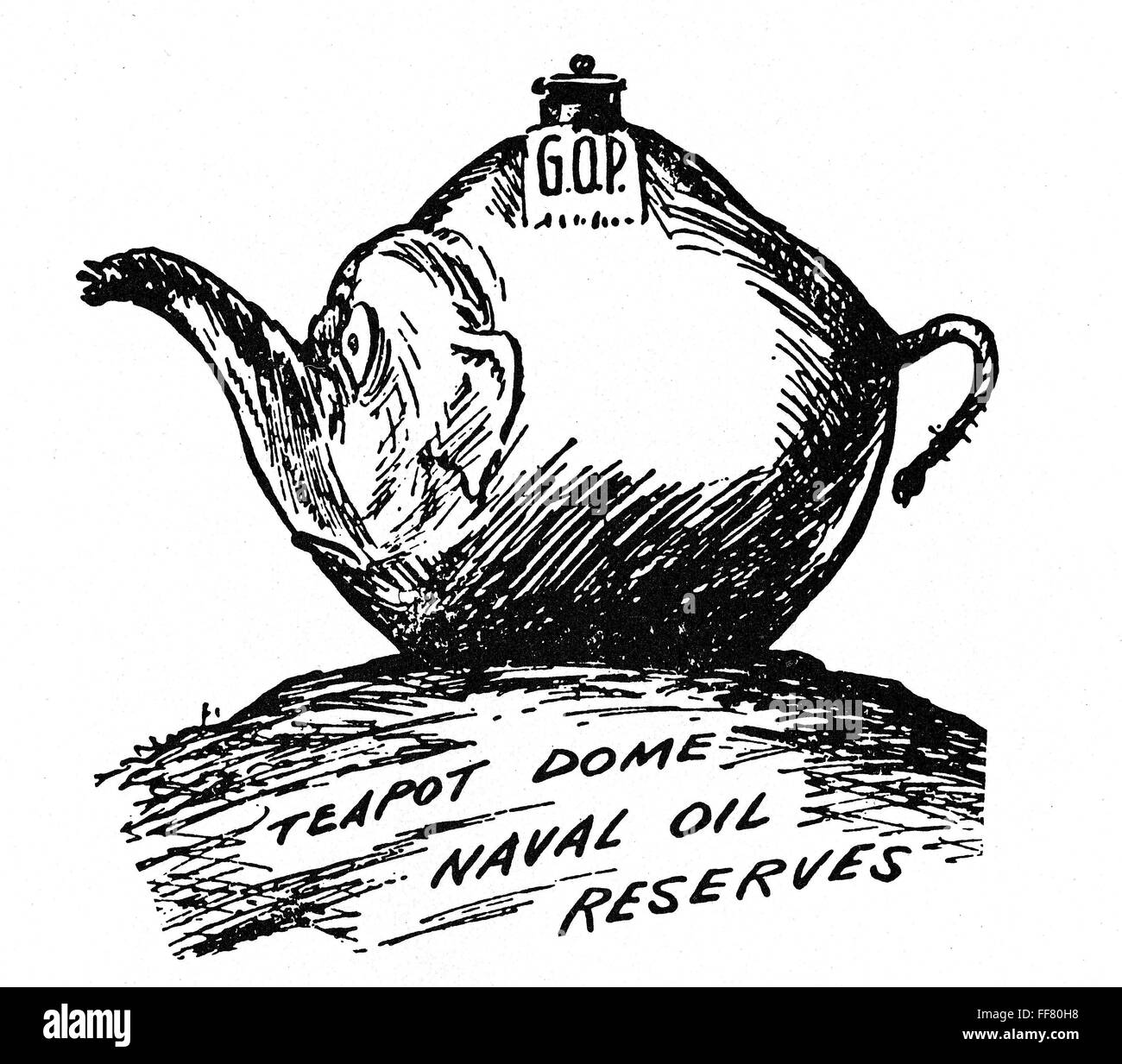 TEAPOT DOME SCANDAL. /nA cartoon on the Teapot Dome investigations. Stock Photo