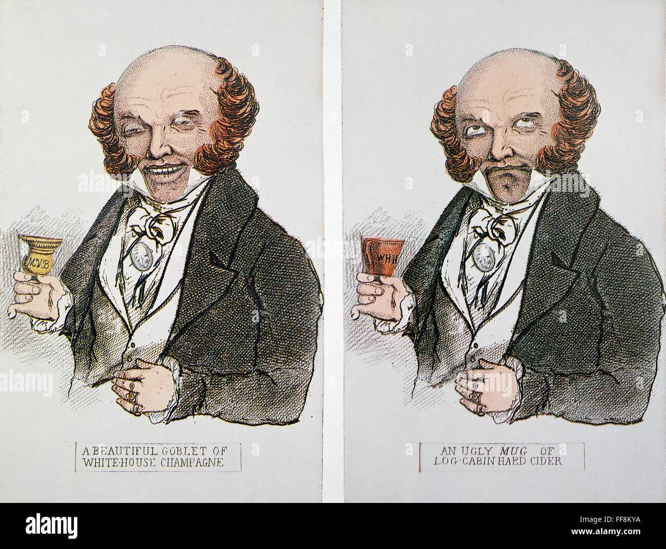 M Van Buren Cartoon 1840 Nwhig Placards Of The 1840
