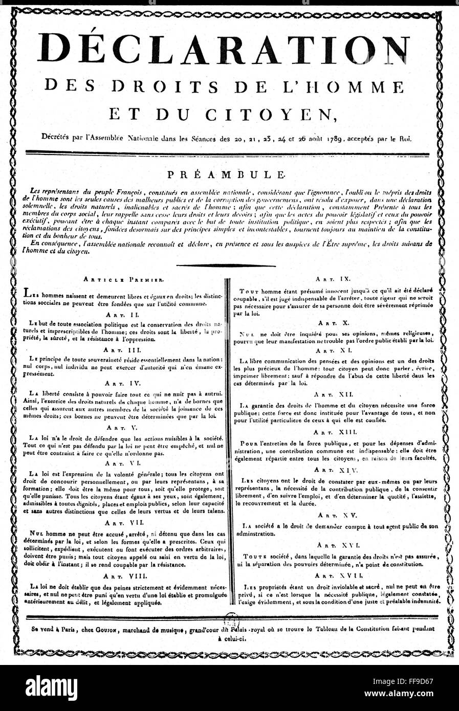 FRENCH REVOLUTION, 1789. /nThe Declaration of the Rights ...