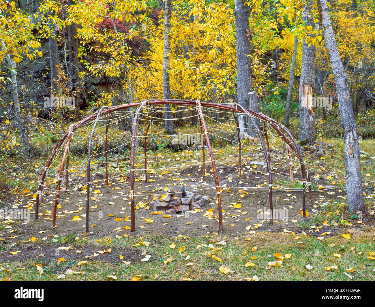 Willow Frame Of Sweat Lodge In Beaver Creek Valley On
