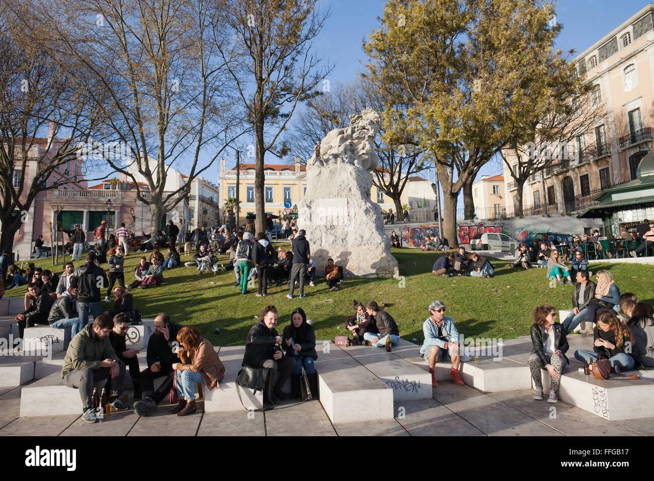 Portugal Lisbon City Life People Relax At Miradouro De