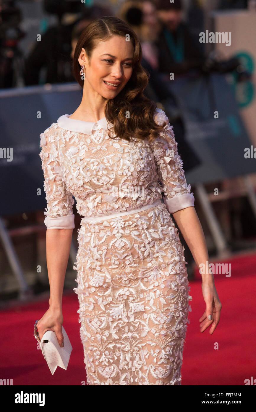 london uk 14 february 2016 actress olga kurylenko red carpet stock photo royalty free image. Black Bedroom Furniture Sets. Home Design Ideas
