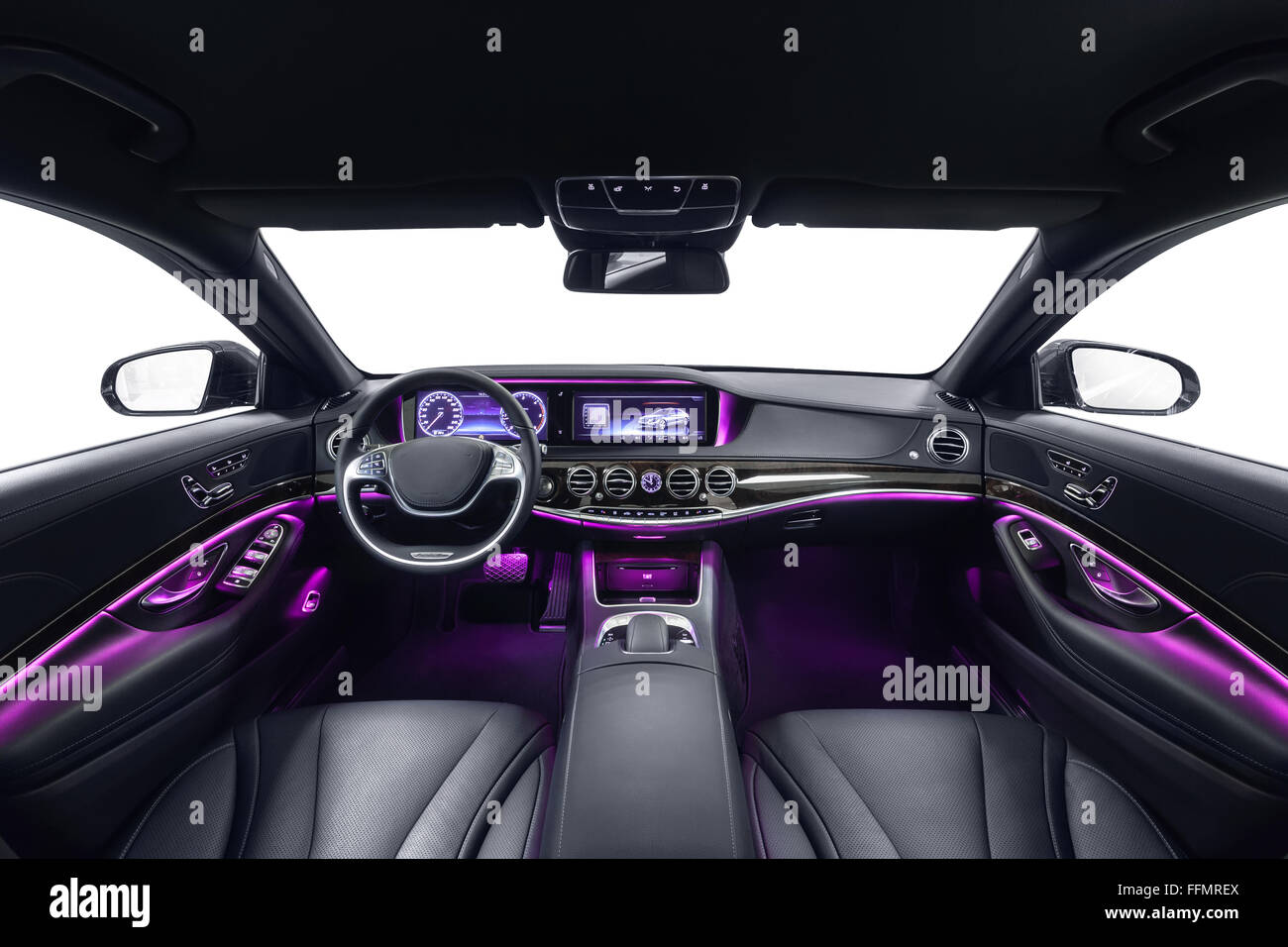 car interior luxury black seats with violet ambient light stock photo royalty free image. Black Bedroom Furniture Sets. Home Design Ideas