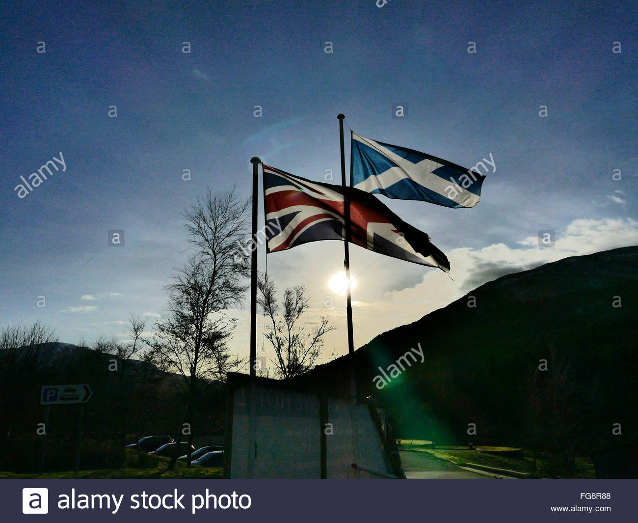 Union Jack and Saltire flags, Bridge of Orchy , the Highlands , Scotland Stock Photo