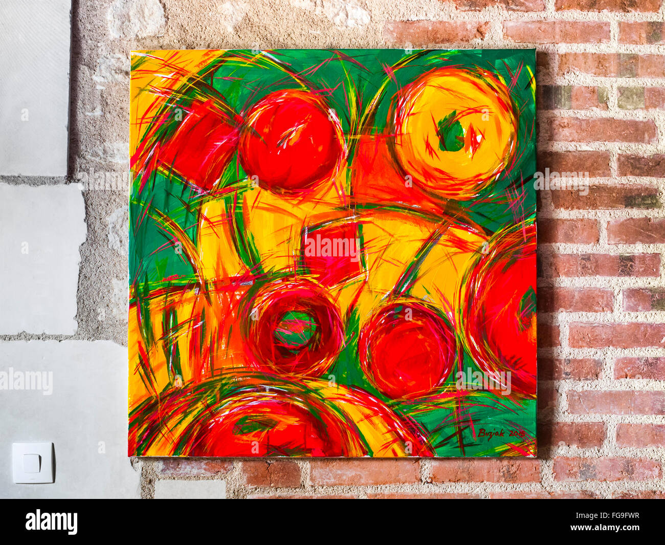 Acrylic painting of fruits / sweets by Ed Buziak. Stock Photo