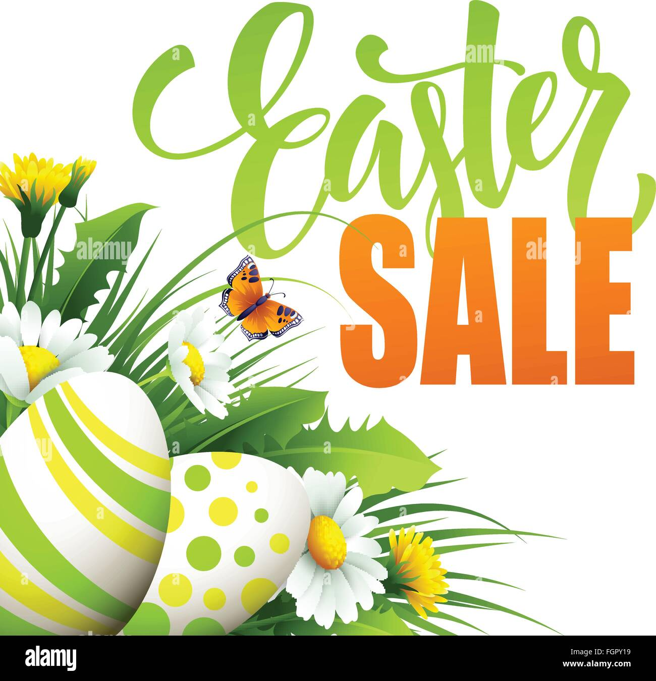 Easter Sale: Easter Sale Background With Eggs And Spring Flower. Vector