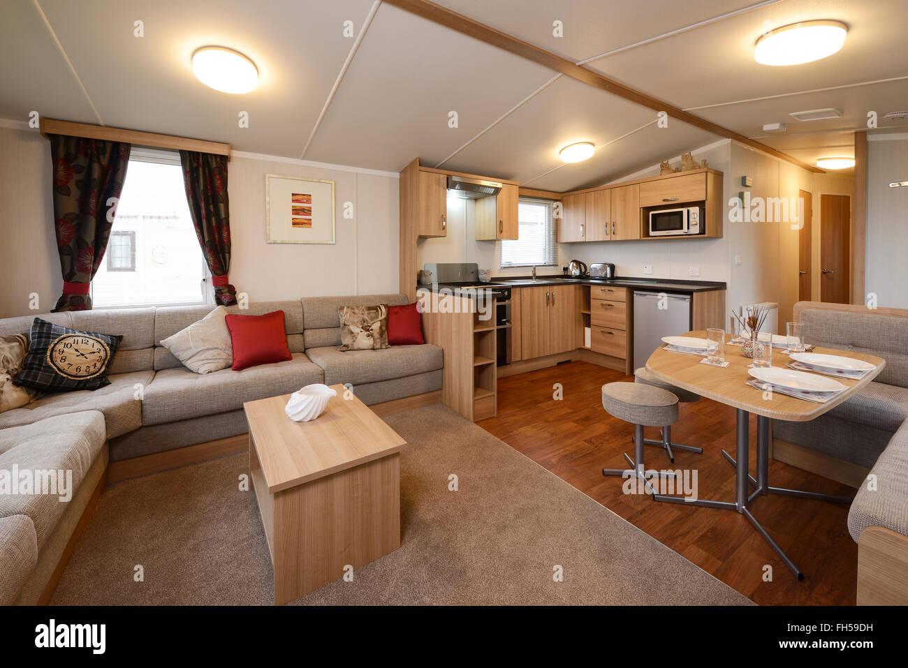 Interior of a static caravan showing living room kitchen for Interior caravan designs