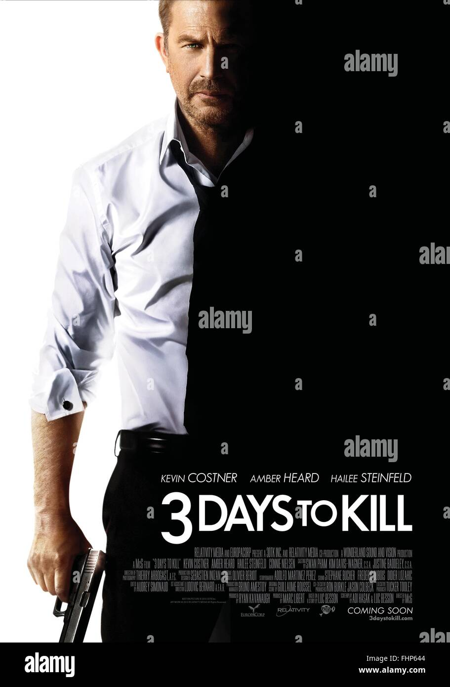 kevin costner movie poster 3 days to kill three days to
