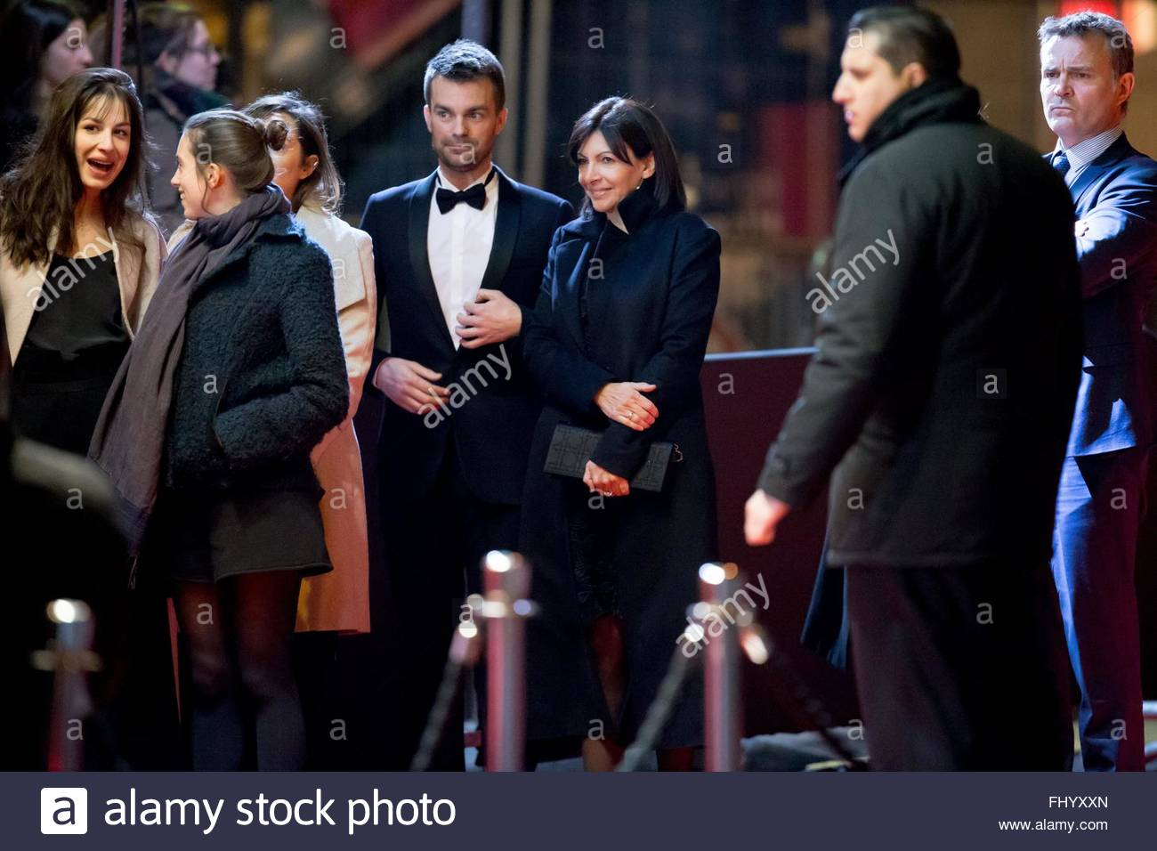 Paris, France. February 26th, 2016. FRANCE, Paris: Mayor of Paris Anne Hidalgo (3rdR) walks on the red carpet of Stock Photo