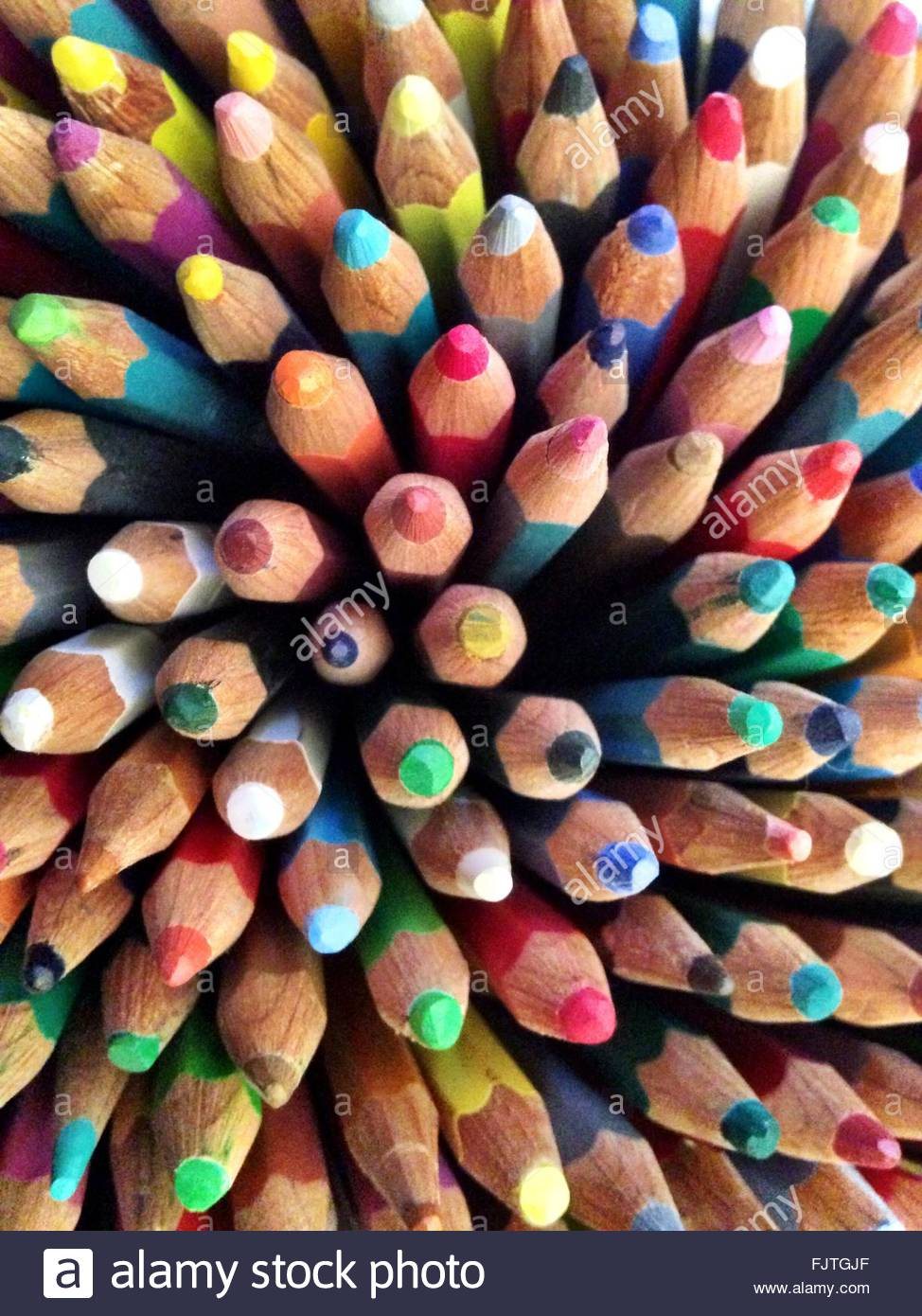 Full Frame Shot Of Colored Pencils Stock Foto