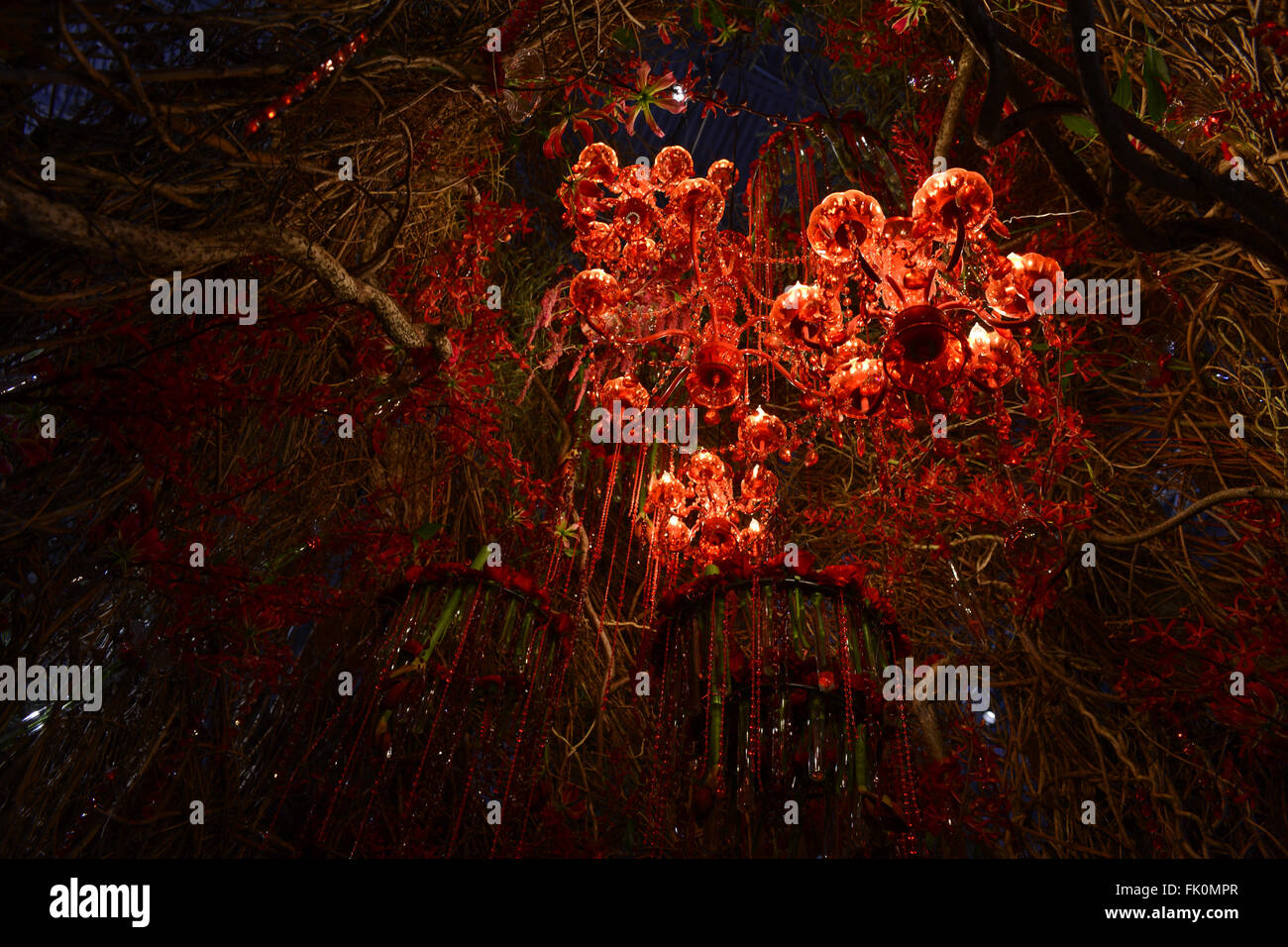 Philadelphia, USA. 4th March, 2016. Representing the inside of a California  Redwood tree this Chandelier Tree is Stock Photo