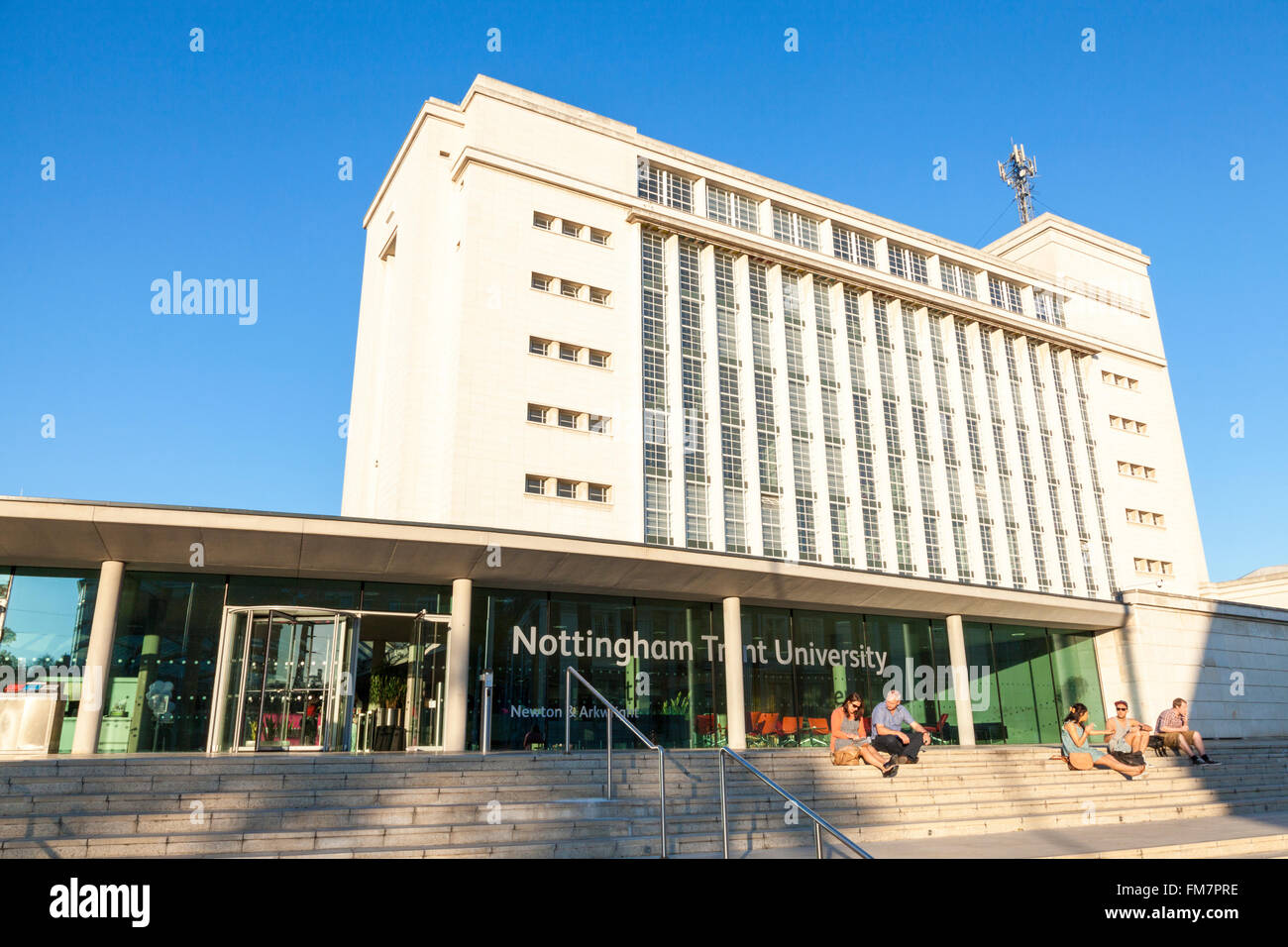 Students in the Summer sunshine at Nottingham Trent University (NTU), Nottingham, England, UK Stock Photo