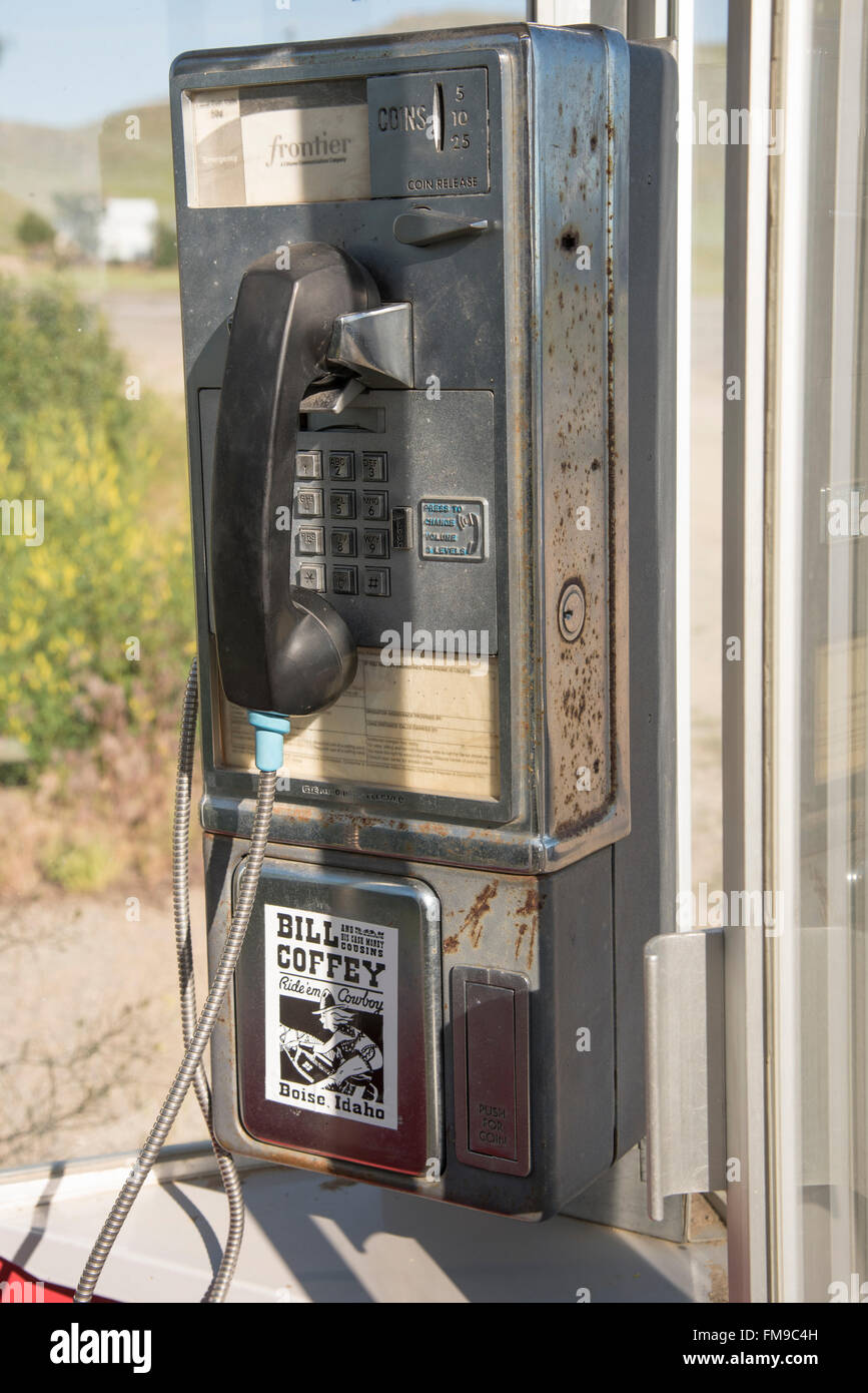 Old Phone Booth in outdoors and old pay phone in booth ...