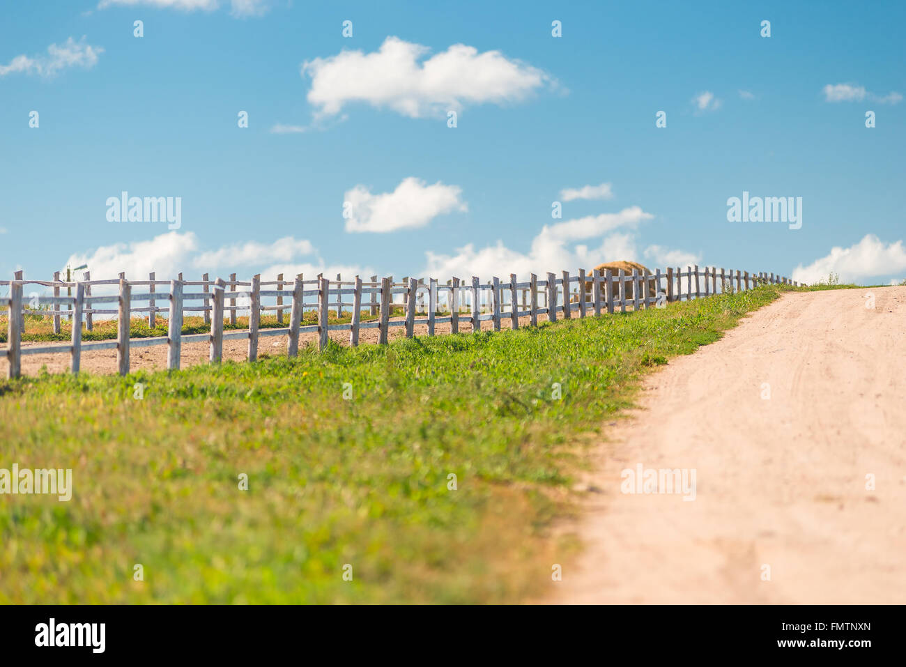 Wooden fence on a ranch in a beautiful location stock photo royalty free image 98889021 alamy - Rustic wood fences a pastoral atmosphere ...