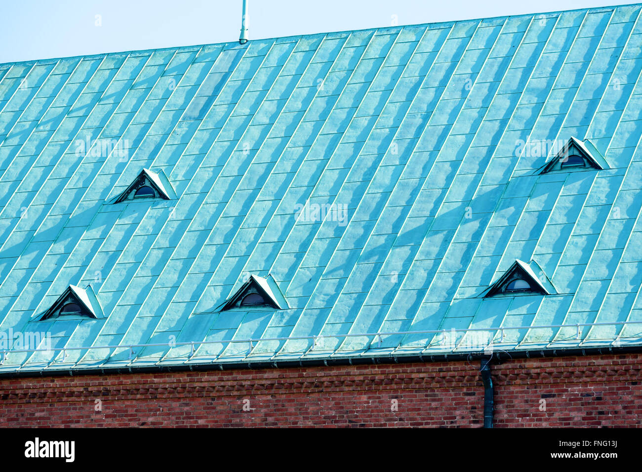 A Copper Roof With Small Windows Copper Is Old And Has