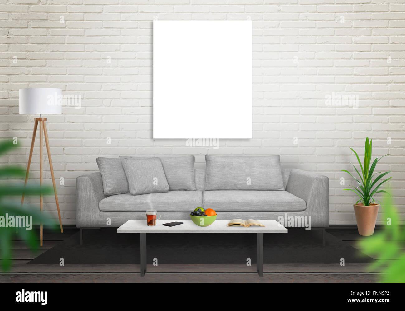 Brick Mockup Living Room