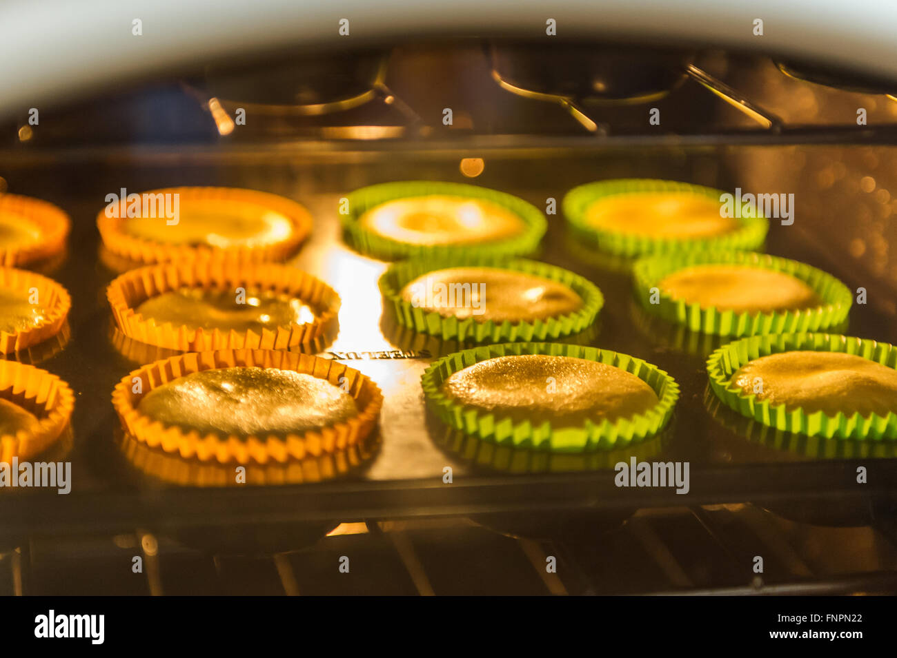 a-tray-of-cup-cakes-rise-in-the-oven-in-