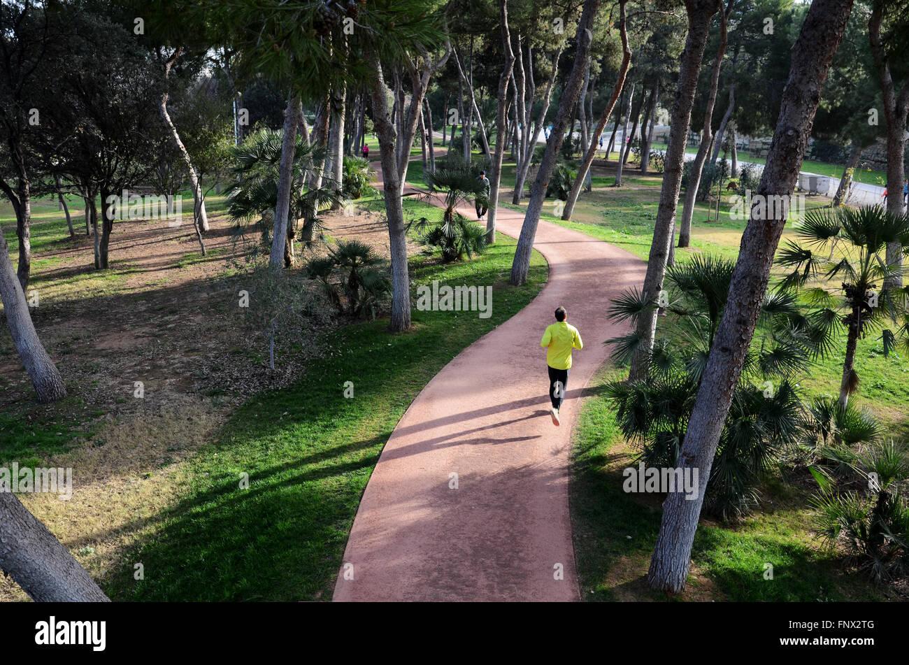Jogging in jardin del turia valencia spain stock photo 99532624 alamy - Jardin del turia valencia ...