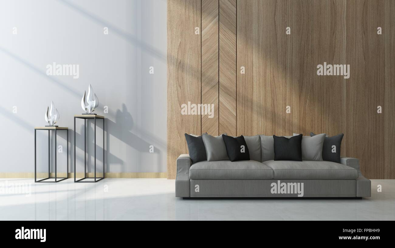 Modern Living Room With Wood Paneling As A Feature On The