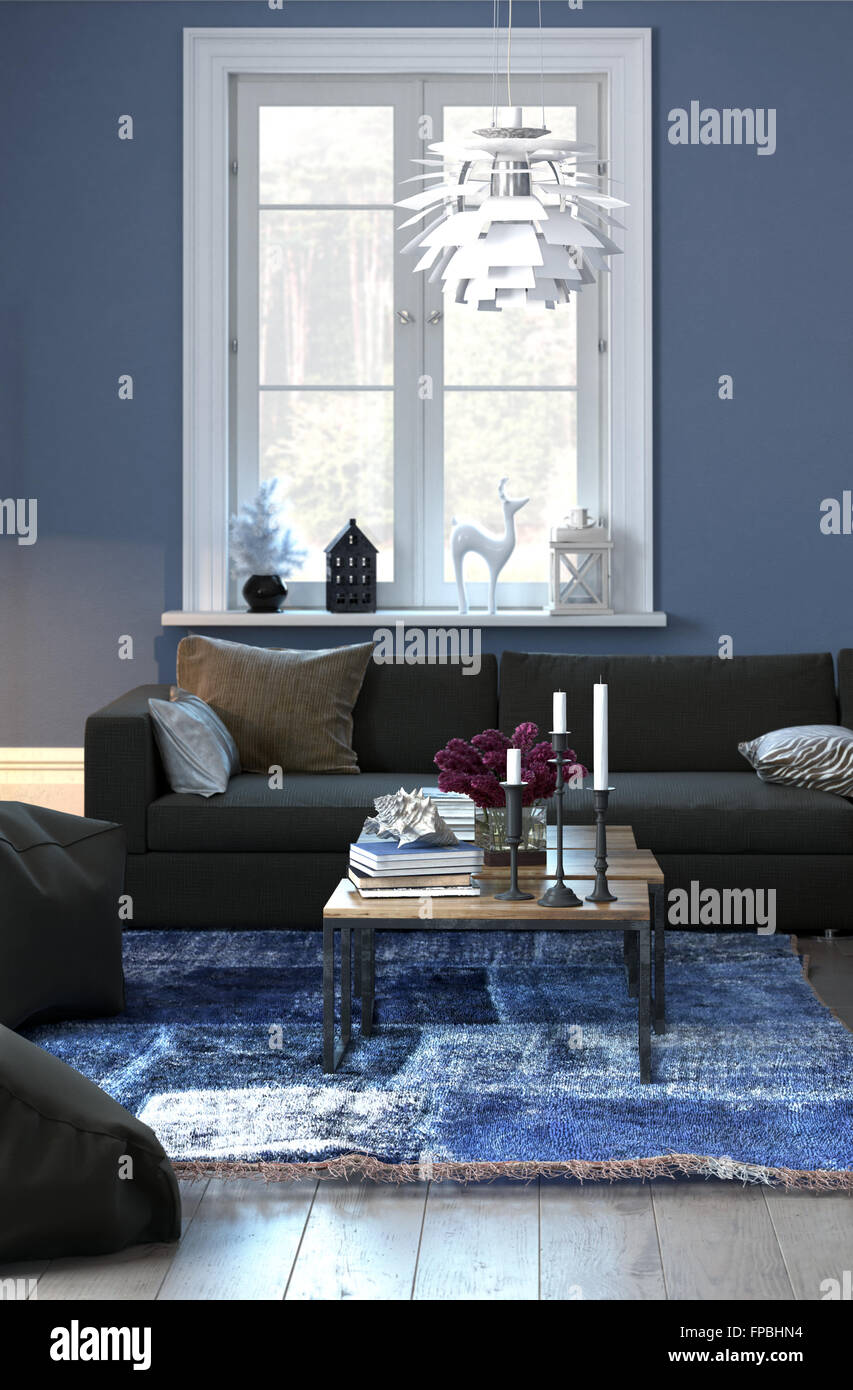 Living room interior with blue walls white accents and - Blue accent walls for living room ...