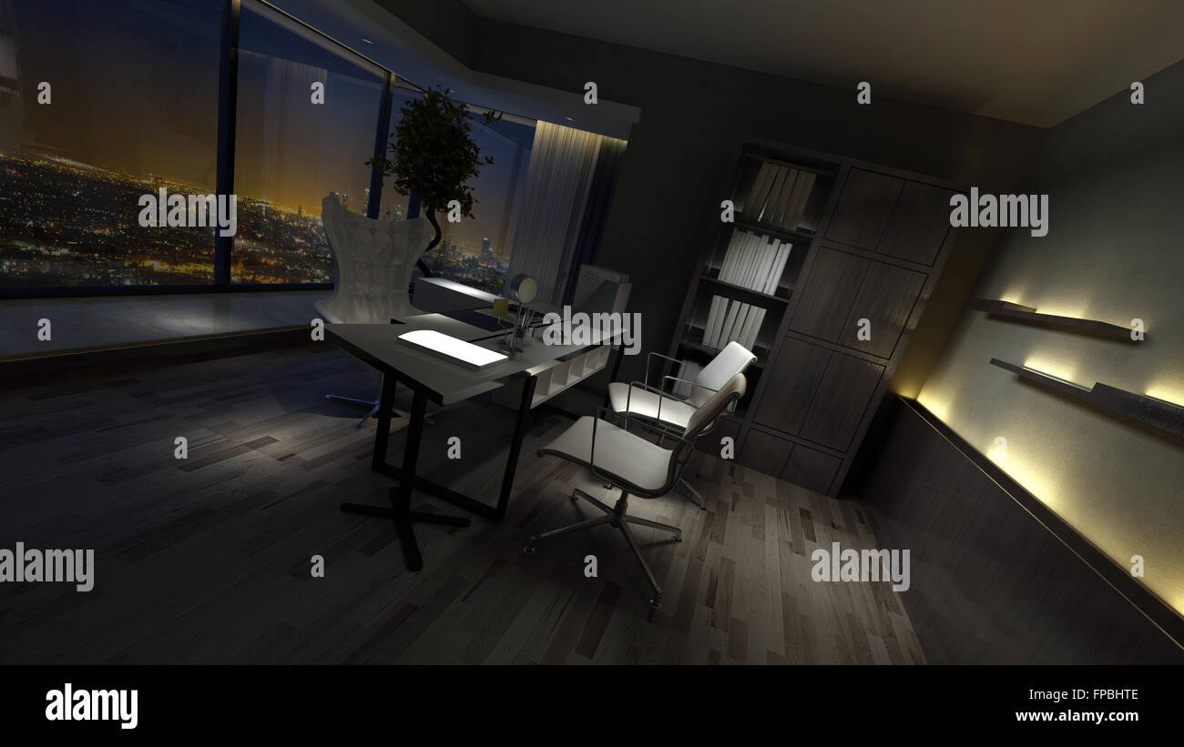 Empty Dark Interior Of A Stylish Home Office Dimly Lit By