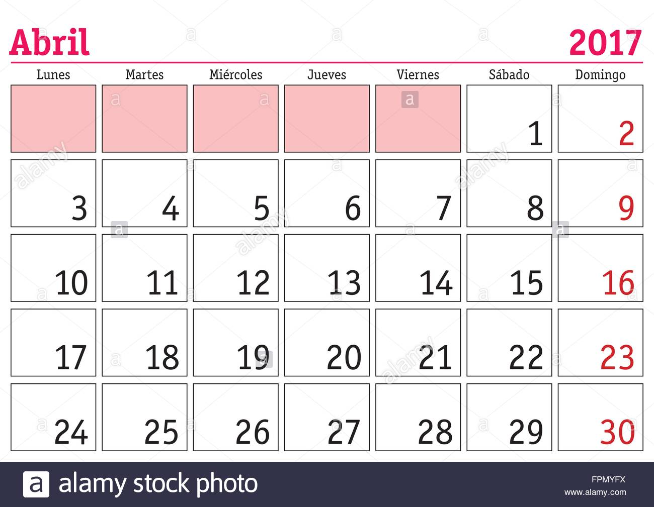 April Month In A Year 2017 Wall Calendar In Spanish. Abril 2017 Stock ...