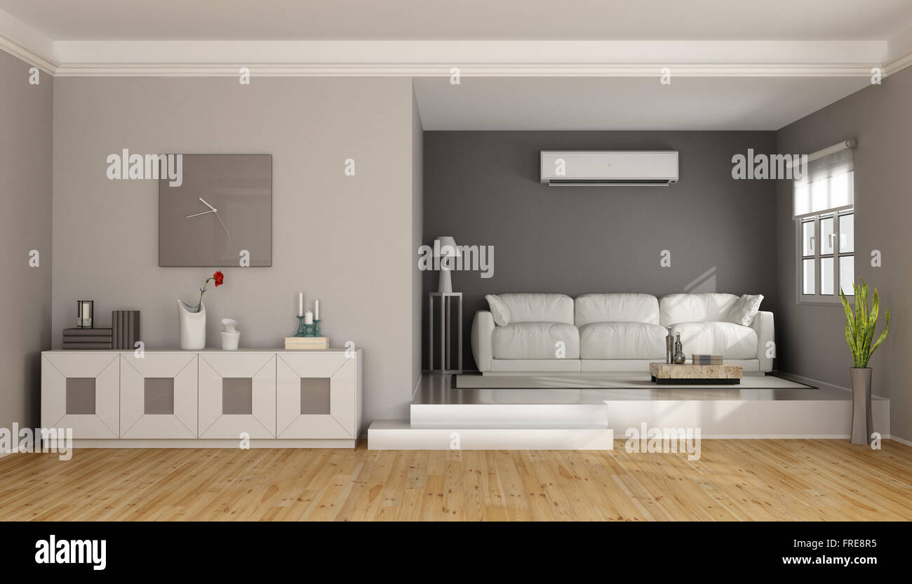 two levels modern living room with sofa sideboard and air stock photo royalty free image. Black Bedroom Furniture Sets. Home Design Ideas