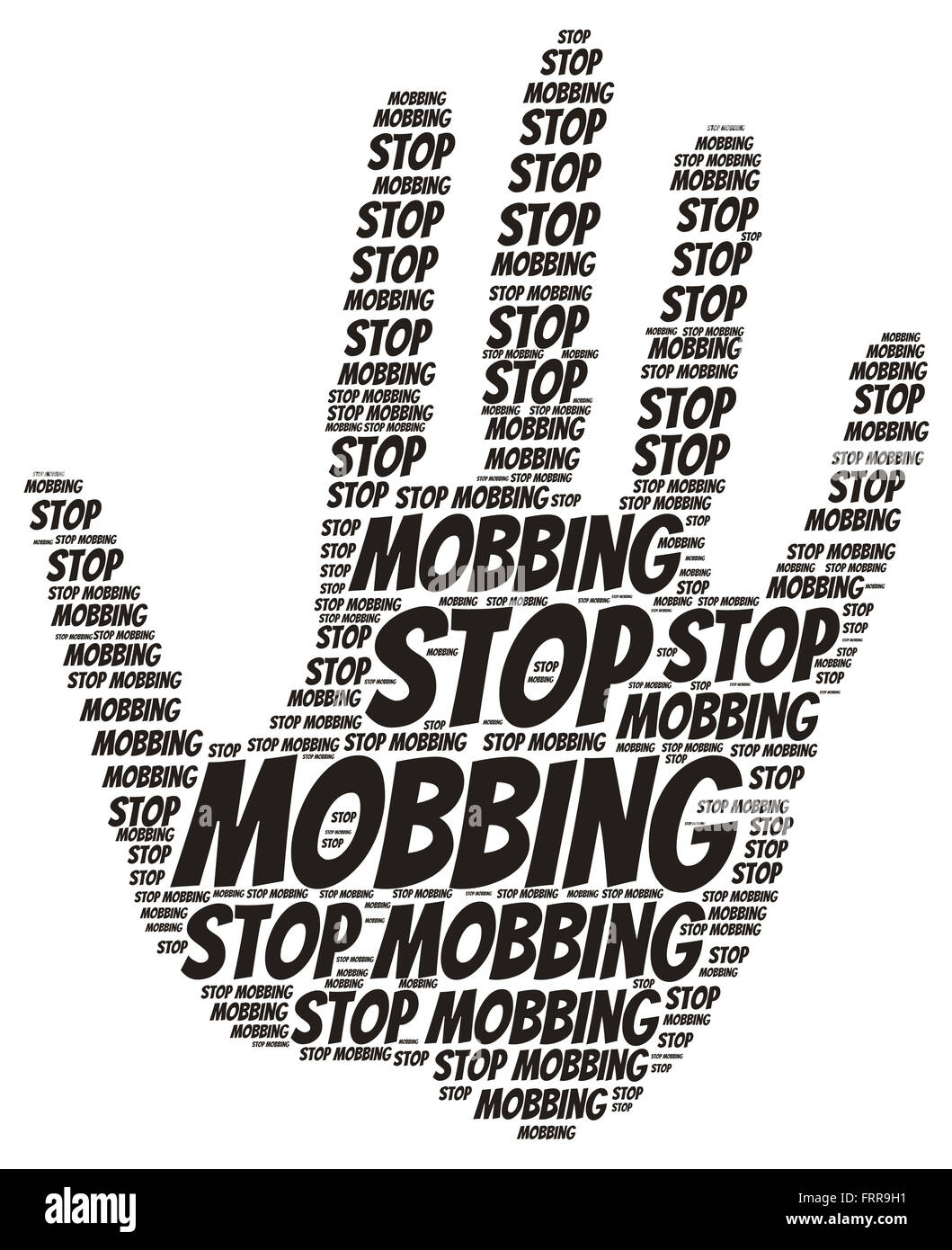 Stop Mobbing Word Cloud In Shape Of Open Palm Isolated On