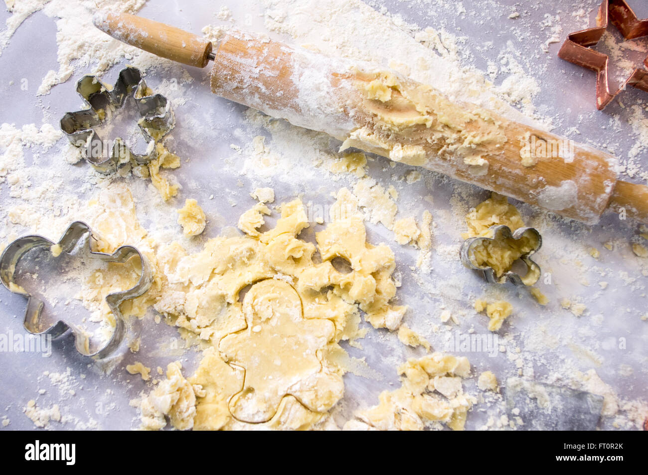 Baking Holiday Cookies (Messy Counter) Stock Photo