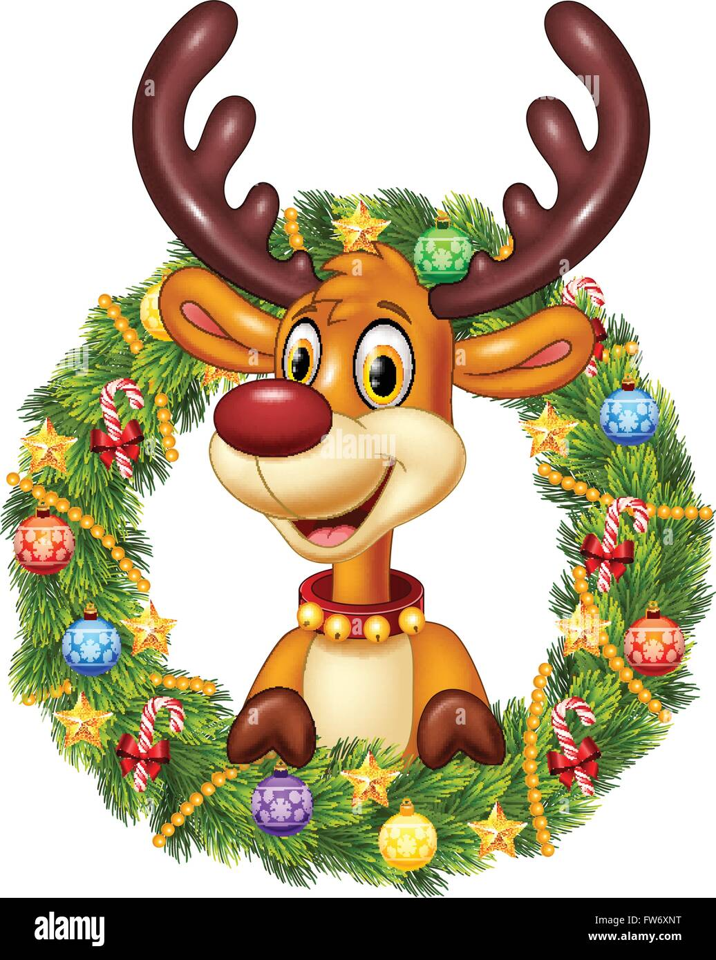 Cartoon Funny Deer Holding Christmas Wreath With Ribbons