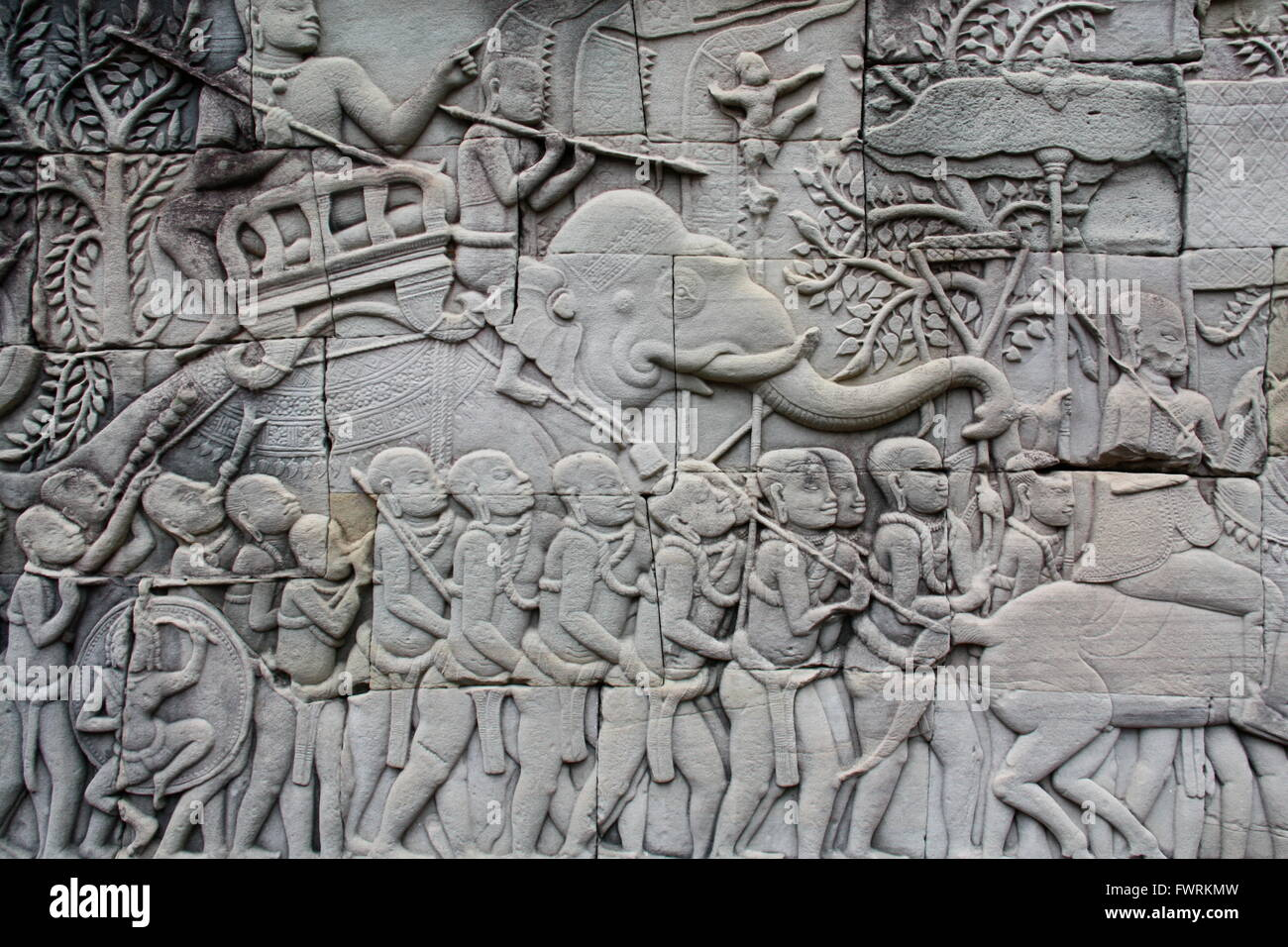 Bas relief of an elephant at angkor wat cambodia stock