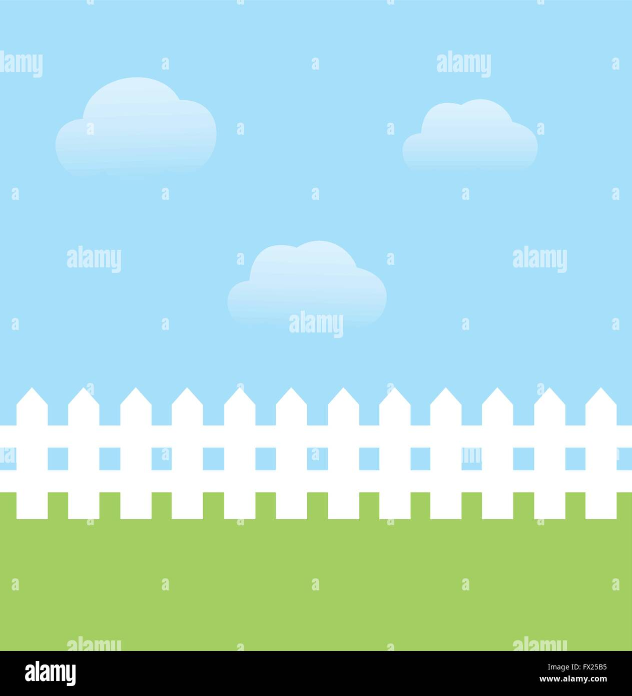 vector illustration of background with sky, grass, fence ...