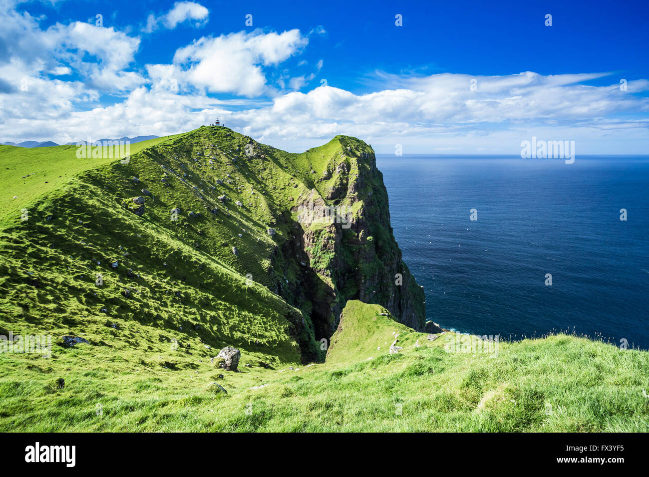 Kallur lighthouse in Kalsoy Island, Faroe Islands Stock ...