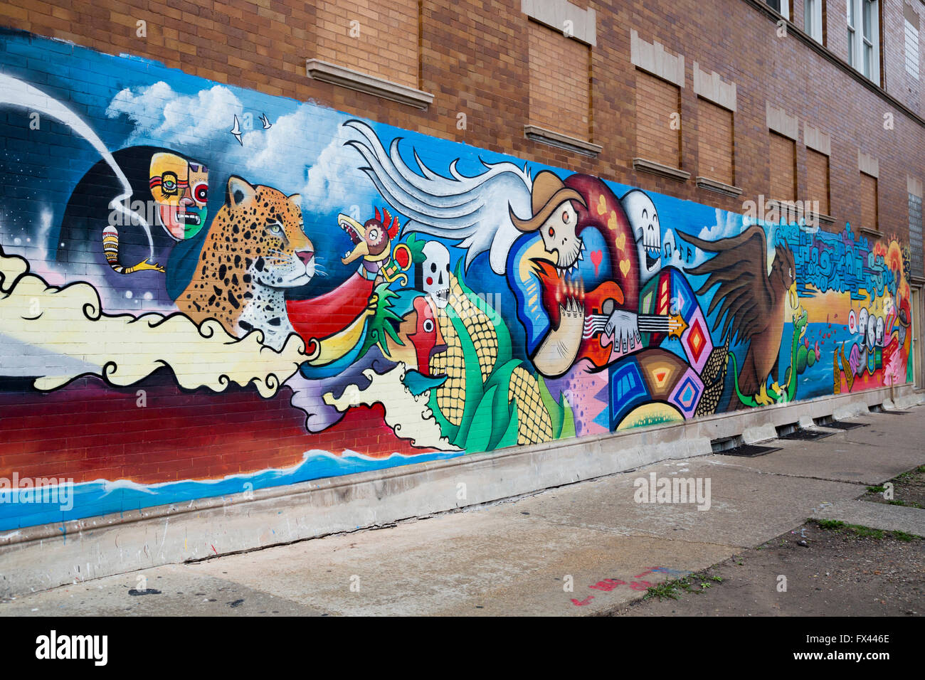Chicago illinois a mural on a building in the largely for Mural in chicago illinois