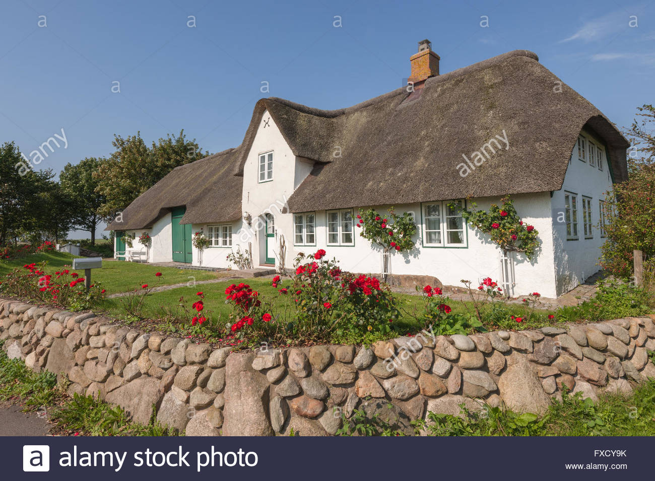thatched roof house witsum fohr north frisia schleswig holstein stock photo royalty free. Black Bedroom Furniture Sets. Home Design Ideas