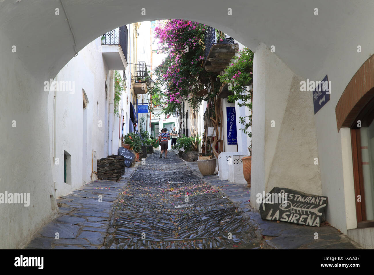 pretty carrer d 39 es call in the heart of white washed cadaques on stock photo royalty free. Black Bedroom Furniture Sets. Home Design Ideas
