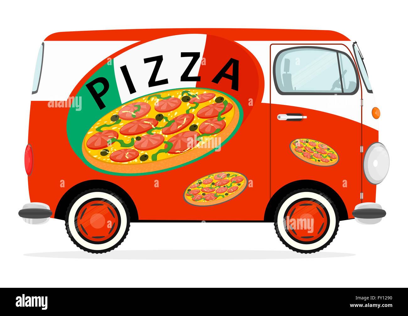 Funny cartoon pizza delivery van Stock Photo, Royalty Free ...