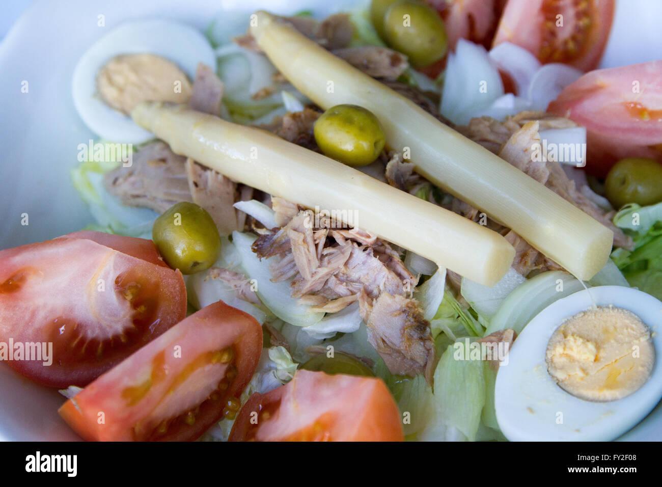 Tuna and asparagus salad Stock Photo