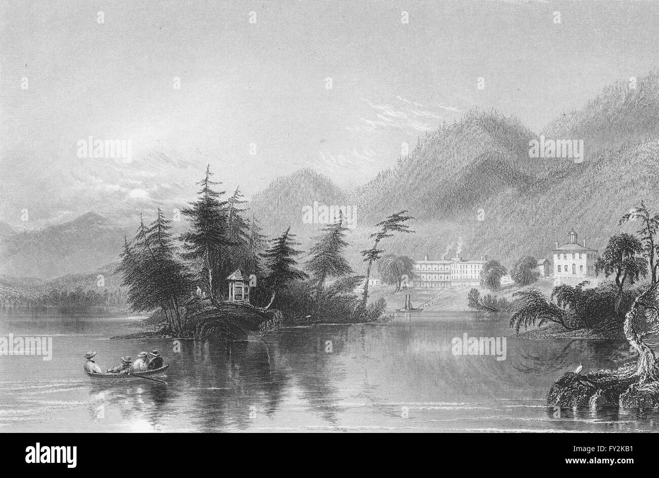 Caldwell (Lake George), New York. WH BARTLETT, antique print 1840 Stock Photo