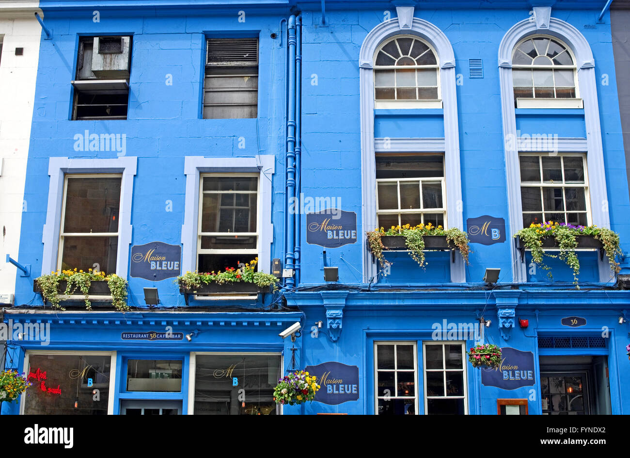 Close up of the frontage of the maison bleue restaurant and cafe stock photo royalty free - Maison bleue mobel ...
