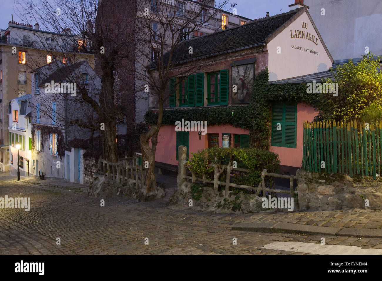 "The historic cabaret ""Lapin Agile"" in Montmartre Paris France Stock Photo"