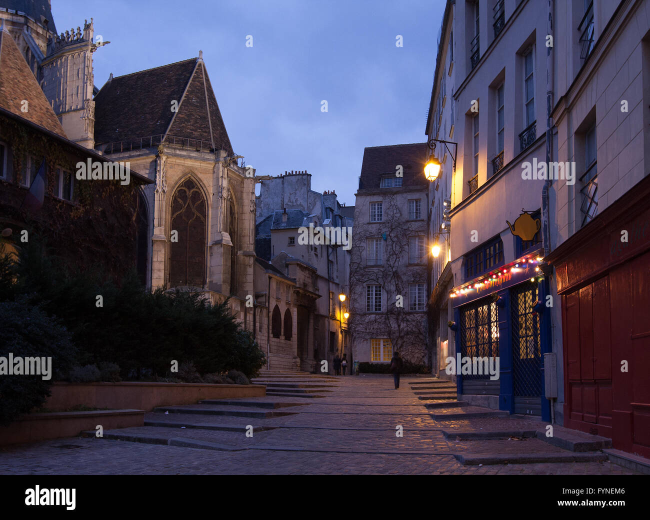 Twilight walk in historic Paris France Stock Photo